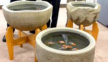 来待石金魚鉢 台座付イメージ