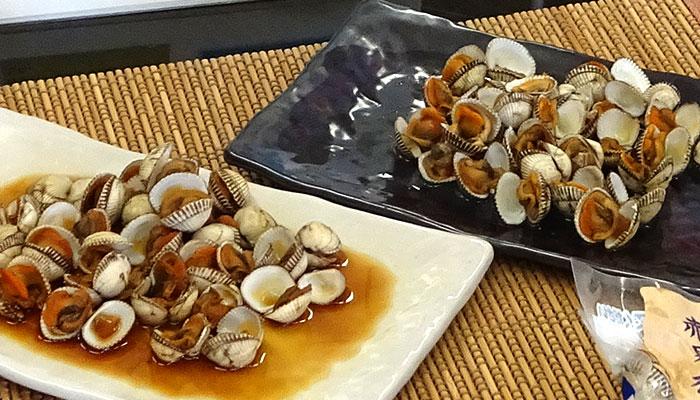 中海産赤貝(サルボウガイ)の煮付と酒蒸し