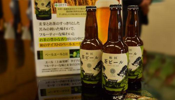 松江茶ビールと説明のポップ